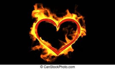 serce, valentine dzień, płonący
