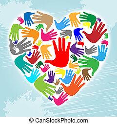 serce, valentine, dzieciństwo, handprints, dzień, widać