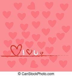 serce, valentine, formułować, tło, dzień, czerwony