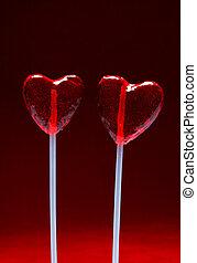 serce, valentine, lizaki, dwa, mający kształt