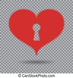 serce, valentine, odizolowany, element, tło., dzień, wektor, dziurka od klucza, projektować, cień, postcards., czerwony