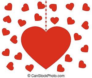 serce, valentine, s, tło, biały, dzień