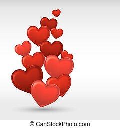 serce, valentine, tło., szykowny, dzień, czerwony