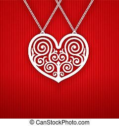 serce, valentines dzień, czerwony, tło.