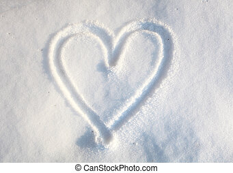 serce, w, śnieg