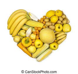 serce, warzywa, żółty, owoce