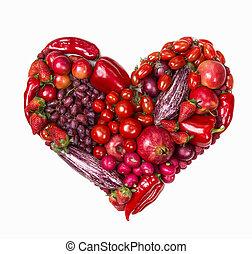 serce, warzywa, czerwony plon
