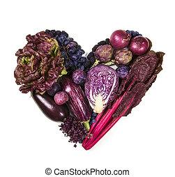 serce, warzywa, purpurowy, błękitny, owoce