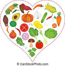 serce, warzywa, wnętrze, ikony