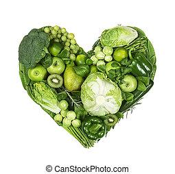 serce, warzywa, zielony, owoce