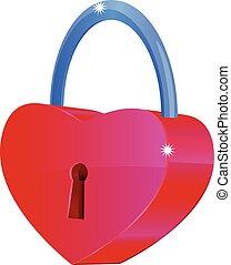 serce, wektor, 3d, kłódka, ikona