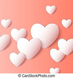 serce, wektor, abstrakcyjny, shapes., papier, tło, 3d