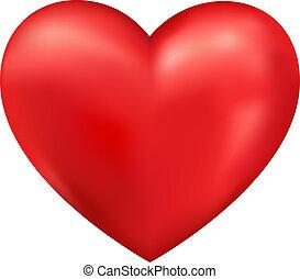 serce, wektor, błyszczący, 3d