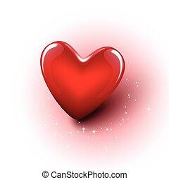 serce, wektor, błyszczący, czerwony, 3d
