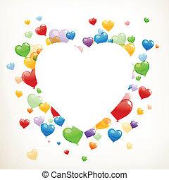 serce, wektor, balony