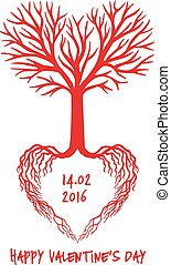 serce, wektor, czerwony, drzewo