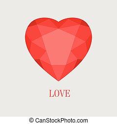 serce, wektor, czerwony, ilustracja, kryształ