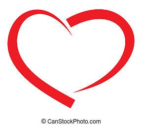 serce, wektor, czerwony