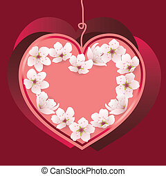 serce, wektor, dzień, valentine