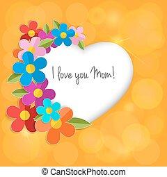 serce, wektor, frame., matczyny, kolor, eps10., powitanie, day., papier, kwiaty, szczęśliwy, karta, 3d