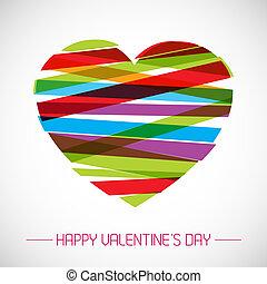 serce, wektor, karta, valentine