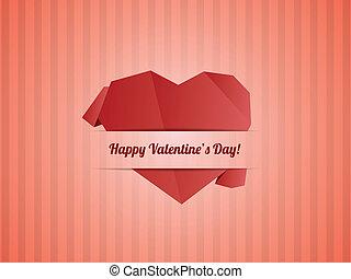 serce, wektor, list miłosny, -, papier, dzień, karta