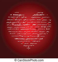 serce, wektor, love., illustration., tło.