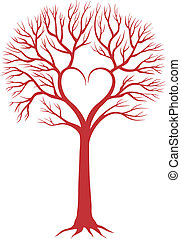 serce, wektor, tło, drzewo