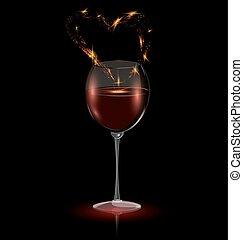 serce, wino, czerwony, szkło
