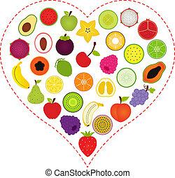 serce, wnętrze, owoc, ikony