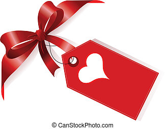 serce, wstążka, czerwony, etykieta