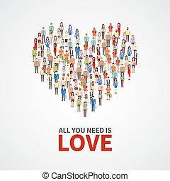 serce, wszystko, miłość, tłum, ludzie, afisz, forma., osoby, wektor, dorosły, współposiadanie, potrzeba, ty, szczęśliwy