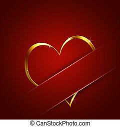 serce, złoty, dar karta, valentine