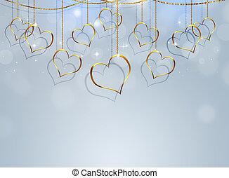 serce, złoty, jasny, tło, valentine