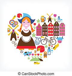 serce, z, niderlandy, wektor, ikony