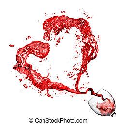 serce, z, zsyp czerwone wino, w, szkło, puchar, odizolowany, na białym