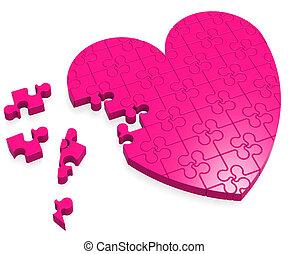 serce, zagadka, miłość, pokaz, niedokończony