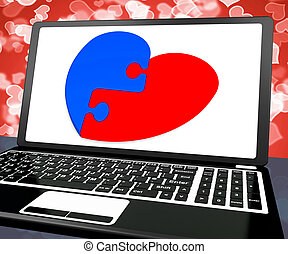 serce, zagadka, obietnica, laptop, widać