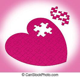 serce, zagadka, pokaz, szczęście, niedokończony