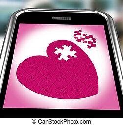 serce, zagadka, smartphone, pokaz, zobowiązanie