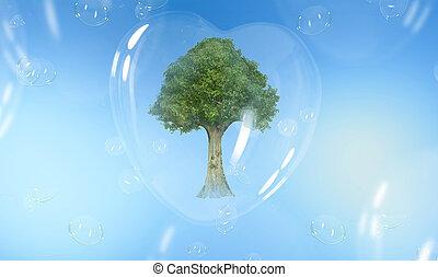 serce, zielony, mający kształt, drzewo