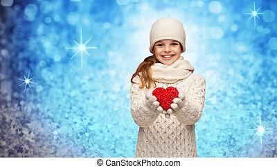serce, zima, mały, dziewczyna, czerwone ubranie