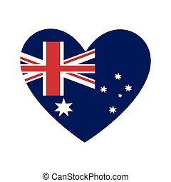 sercowa forma, australijska bandera, ikona