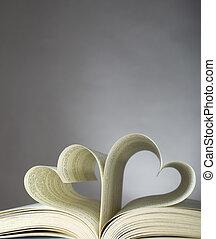 sercowa forma, książka, otworzony