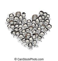 sercowa forma, narody, projektować, twój, szczęśliwy
