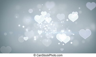 sercowe formy, bokeh, loopable, romantyk, tło