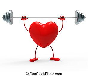 sercowe formy, wskazuje, ciężary, ruch stosowności