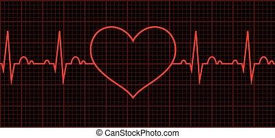 sercowy, serce, beat., cardiogram., cykl