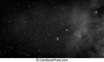 serein, lent, étoiles, espace, profond, mouvement, noir, 4k, fond, blanc, galaxie