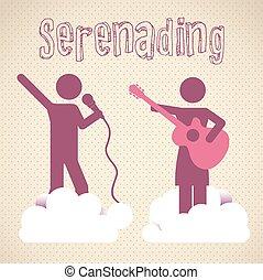 Serenading vector illustration